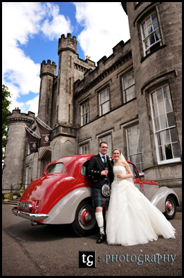Wedding Airth Castle, Wedding Photograph Kathryn & Ross at 1950s Daimler