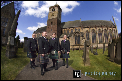 Iain and boys at Dunblane Cathedral & Roman Camp Hotel, Callander