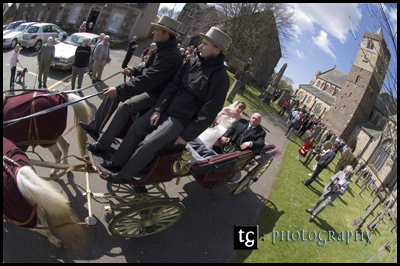 Kirsten & Iain€™s Wedding photograph, Horse and Carriage at Dunblane Cathedral & Roman Camp Hotel, Callander