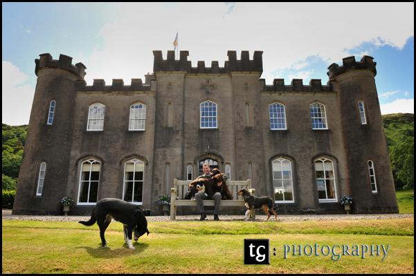 Wedding Gallanach Estate, Oban, Charlie and his dogs wedding photograph