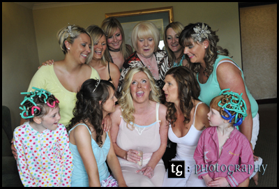 Elaine & Bridesmaids fun wedding photograph, Seamill Hydro, Ayrshire