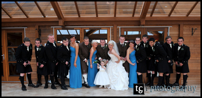 Big bridal party photograph, wedding the Gailes Hotel