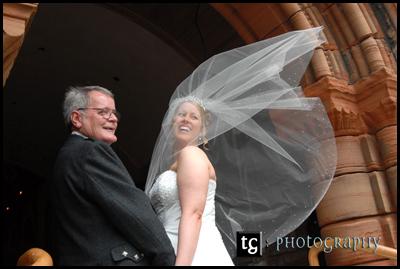 Kim and her dad, wedding photograph St Nicholas church, Prestwick