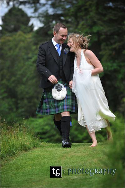 Katja & Craig Loch Awe, wedding photograph Ardanaiseig Hotel
