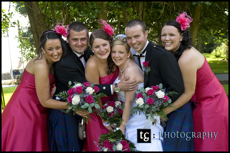 Bridal party fun wedding photograph, Sam & Euan€™s wedding Piersland House Hotel