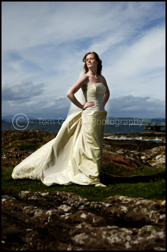 Carolyn beautiful bridal photograph Portencross, wedding Seamill Hydro Hotel