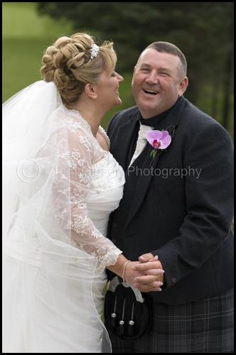 Wedding Gailes Hotel, fun wedding photograph Gillian & Peter