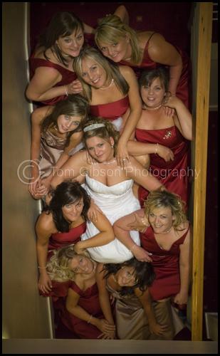 Fun Wedding photograph 9 bridesmaids! Wedding Gailes hotel