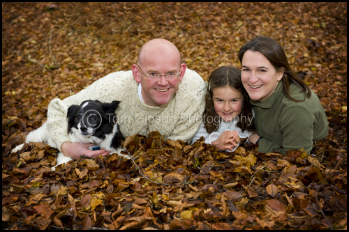 Portrait photograph on location, Autumn leaves, Portrait photographer Scotland
