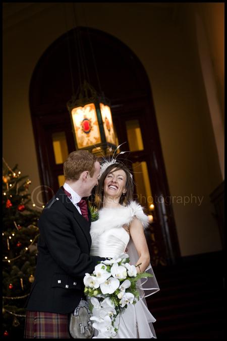 Wedding Mar Hall, Fun wedding photograph Heather and Gavin in the Entrance Hall, Mar Hall