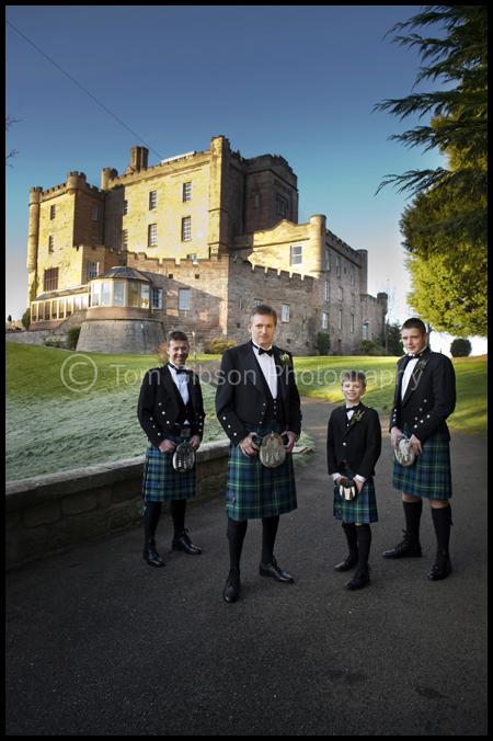 Wedding Dalhousie Castle, Wedding photograph groom, bestman and ushers