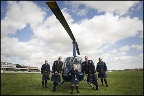 Wedding Helicopter Photographs, wedding Ayr Race-course, Alex and boys