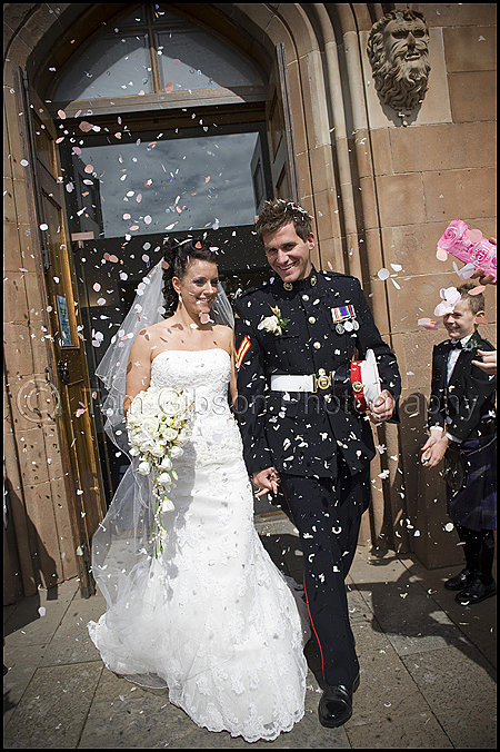 Wedding Ayr, St Margarets Cathedral, Natalie and Paul Scott confetti photograph
