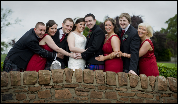 fun wedding photograph bridal party Lochside House Hotel, wedding photographer Ayrshire