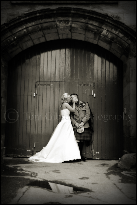 Wedding Balbirnie House Hotel, beautiful black and white wedding photograph Gillian and Iain