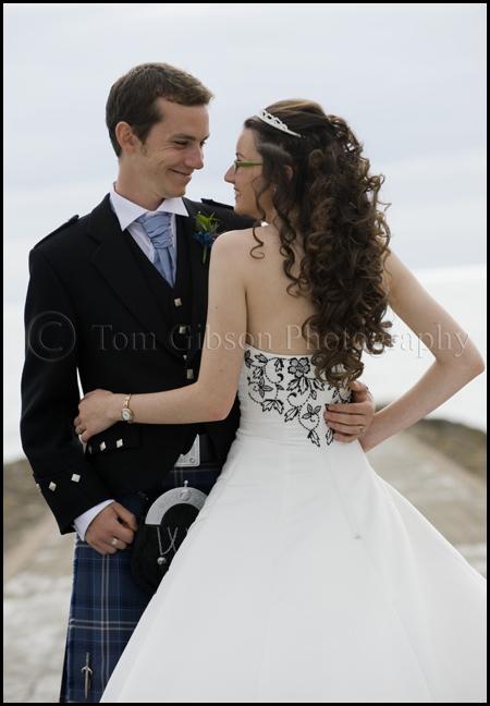 Wedding photographer Scotland, Wedding Ayrshire, wedding photograph bride and groom on beach