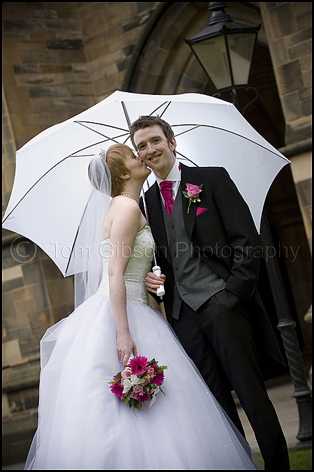 Fun wedding photographer Glasgow, Strathclyde University wedding photographs, Emma and Joe bride and groom having fun