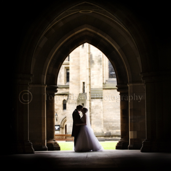 Strathclyde University Wedding Photographs in the cloisters, Wedding photographer Glagow, gorgeous wedding photographs Emma & Joe