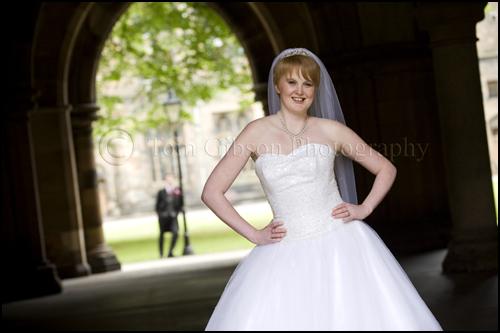 Wedding Photographer Glasgow Straphclyde University Chapel Cloisters, Fun wedding photography, Emma and Joe Bride and Groom fun wedding photographs