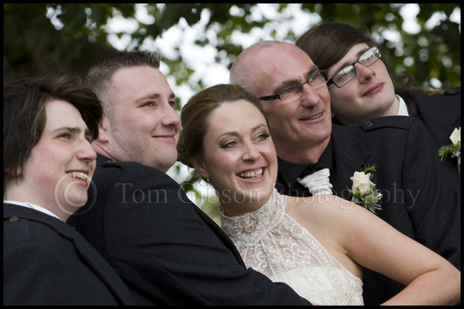 Ayrshire wedding photographer, fun wedding photographs bridal party, Burnhouse Manor wedding