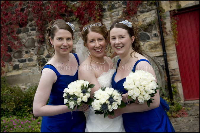 Wedding photographer Dalgarven Mill Ayrshire, Fun, natural wedding photograph bride and bridesmaids