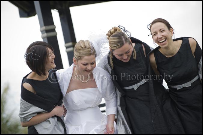 fun wedding photographer Ayrshire Seamill Hydro wedding natural and relaxed wedding photograph bride and bridesmaids