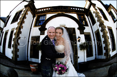Wedding Photographer Gleddoch House Hotel, fun bride and groom photograph