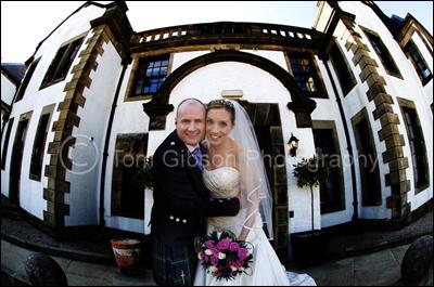 Wedding Photographer Gleddoch House Hotel, fun bride and groom photograph