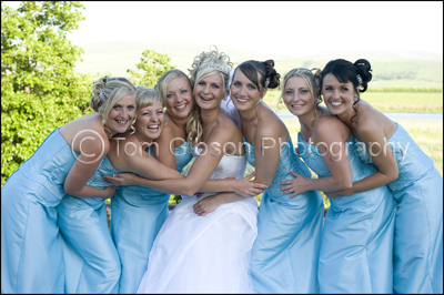 Lochside House Hotel Cumnock Wedding Photographer, fun wedding photographs bride and bridesmaids