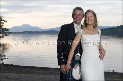 Wedding Photographer Boat House, Cameron House, Bride and Groom Loch Lomond Photograph