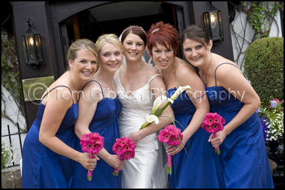 Fun, Natural Wedding Photograph Bridesmaids and Bride Brig€™O