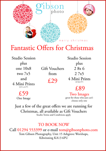 Great Christmas Photography Promotions, Portrait Photographer Ayrshire