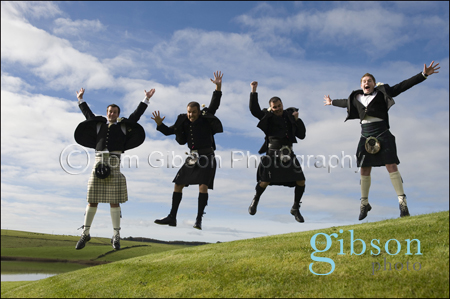 Fun Wedding Photograph, Groom, Bestman and Ushers Lochside, Cumnock, Ayrshire