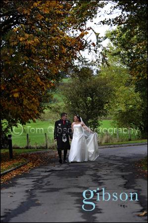 Lochside House Hotel Bride and Groom beautiful Autumn Wedding Photograph