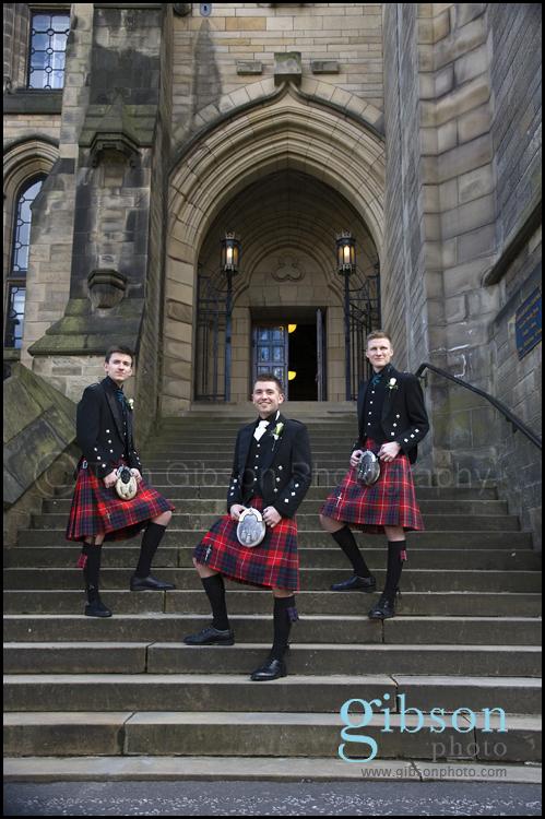 Glasgow University Chapel Wedding Photographer Photograph of the Groom, Best Man and Usher