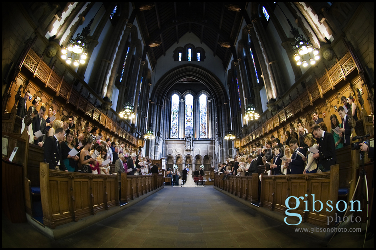 Wedding Photographer Glasgow University Chapel Photograph of the Ceremony and stunning venue