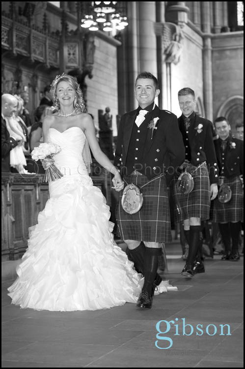 Wedding Photographer Glasgow University Chapel Photograph of the very happy bride and groom