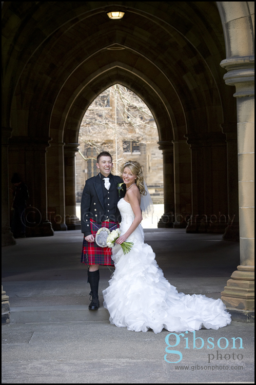 Wedding Photographer Glasgow Photograph of the bride and groom Glasgow University Cloisters