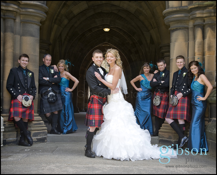 Wedding Photographer Glasgow Photograph of the bridal party Glasgow University Cloisters