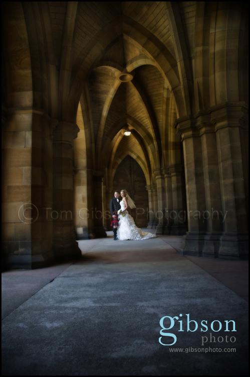 Glasgow Wedding Photographer beautiful wedding photograph of the bride and groom Glasgow University Cloisters