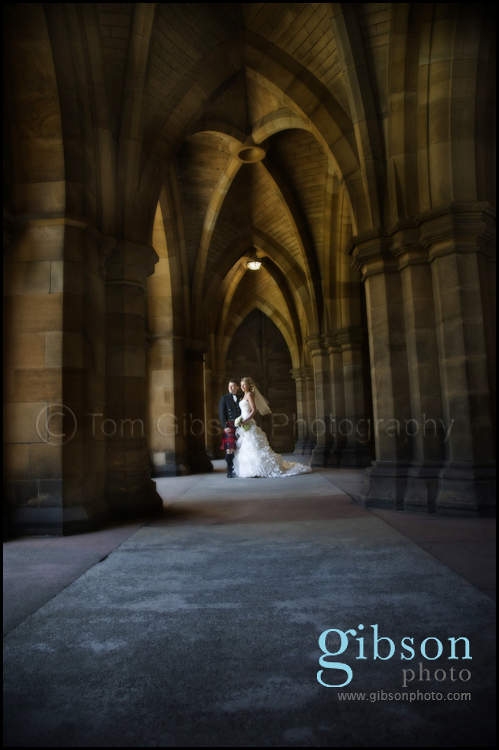 Glasgow Wedding Photographer beautiful wedding photograph of the bride and groom Glasgow University Cloisters