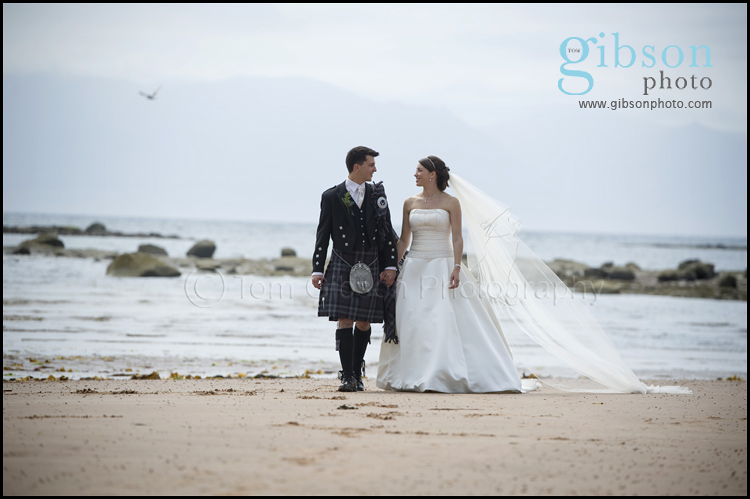 Seamill Wedding Photographer Bride & Groom Beach Photograph