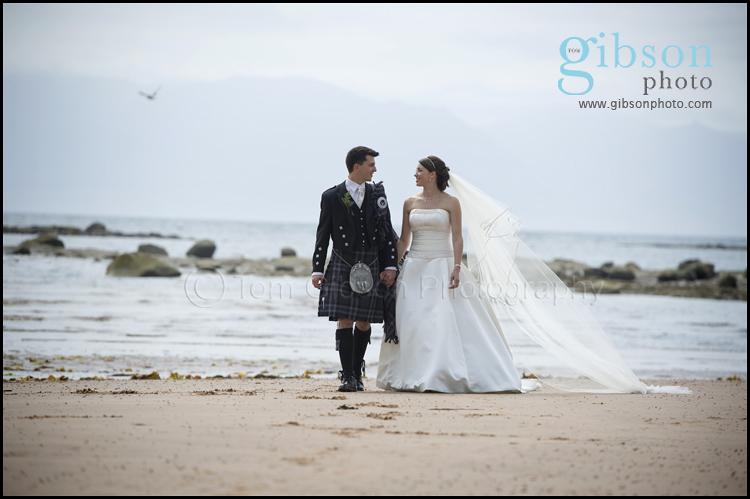 Seamill Wedding Photographer Bride & Groom Beach Photograph