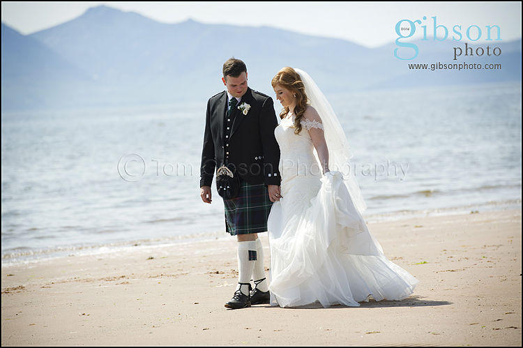 Seamill Hydro Wedding Bride & Groom on the beach photograph
