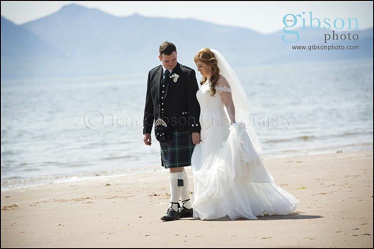 Seamill Hydro Wedding Bride & Groom on the beach photograph