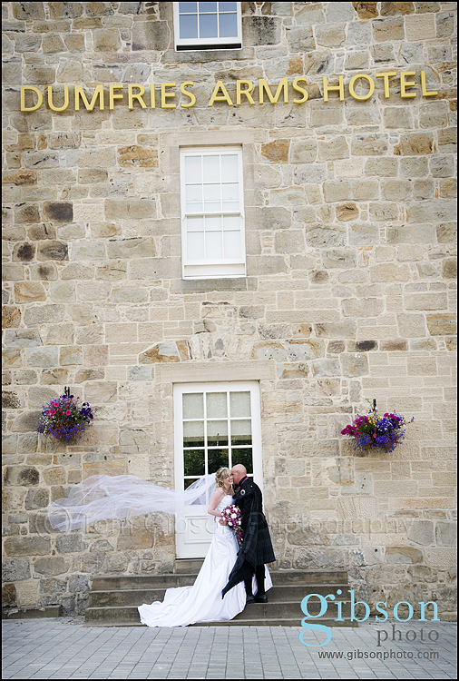 Dumfries Arms Hotel Wedding Photograph Bride and Groom
