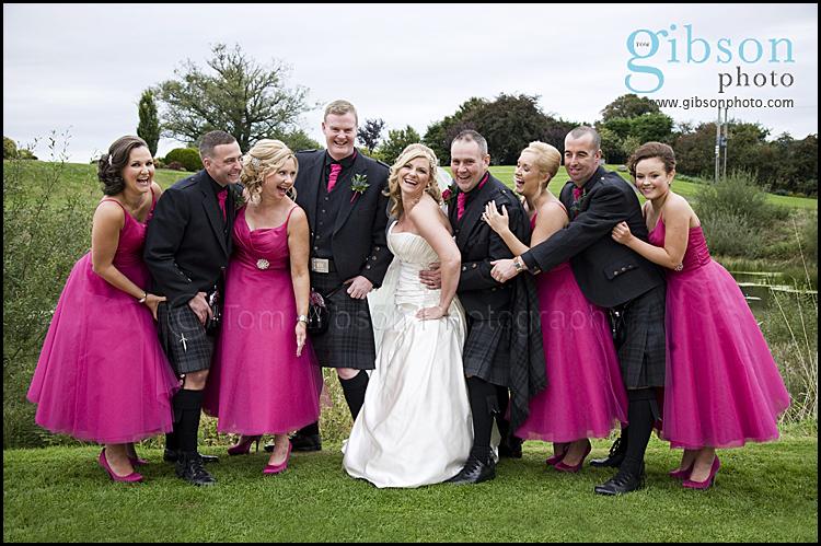 Lochside Wedding Fun Bridal Party Photograph