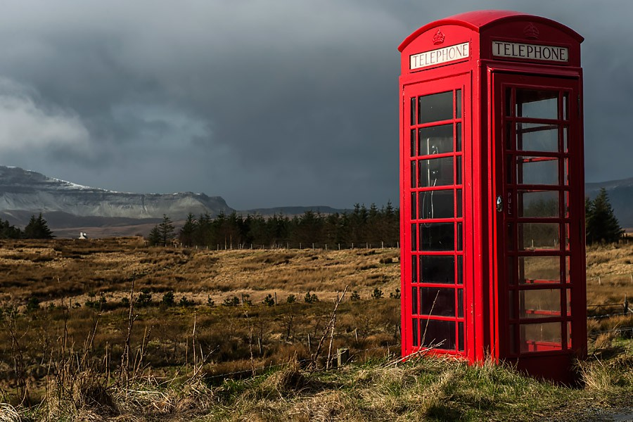 Old style red phone box on the Isle of Skye